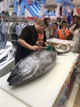 在成都伊藤洋华堂 温江店实施了金枪鱼解体秀